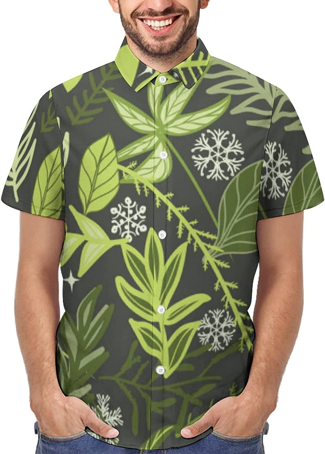 Mens Hawaiian Shirts Short Sleeve Printed Engraving Maple Classic Fit Stretch Casual Button Down Shirt