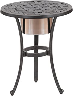 iPatio Sparta 21-inch Round Table with Ice Bucket to Keep Your Drinks Cool
