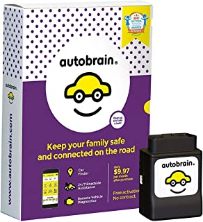 autobrain Real-Time GPS Personal Vehicle Tracking | 1 Year Data Service Included | OBD Auto Health Diagnostics | Parking Locator & Car Finder Tracker | 24/7 Emergency Roadside Assistanc