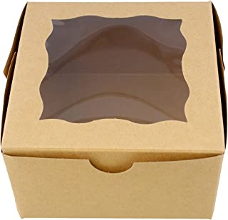 """Special T Brown Bakery Boxes with Window, 25pk – 4"""" x 4"""" Inch Cake Boxes, Party Favor Boxes, Candy Boxes, Dessert Boxes"""
