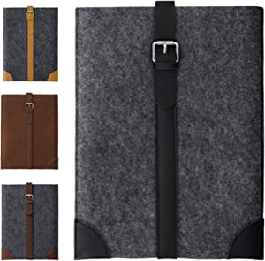 13 Inch Felt and Genuine Leather Laptop Sleeve/Carrying Case (Gray/Black) Compatible with MacBook Pro/MacBook Air/Dell/Lenovo/HP/Acer/Samsung/Sony/Chromebook