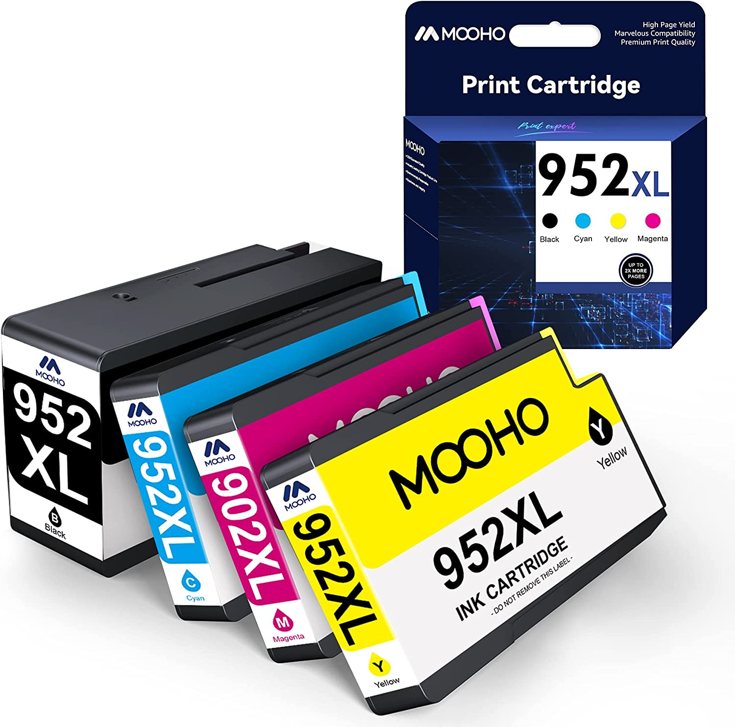 MOOHO Remanufactured Ink-Cartridge Replacement for HP 952 XL 952xl for HP OfficeJet 8710 8720 7740 8715 8210 8740 8725 7720 8702 8216 Printer (Black Cyan Yellow Magenta, 4 Pack)