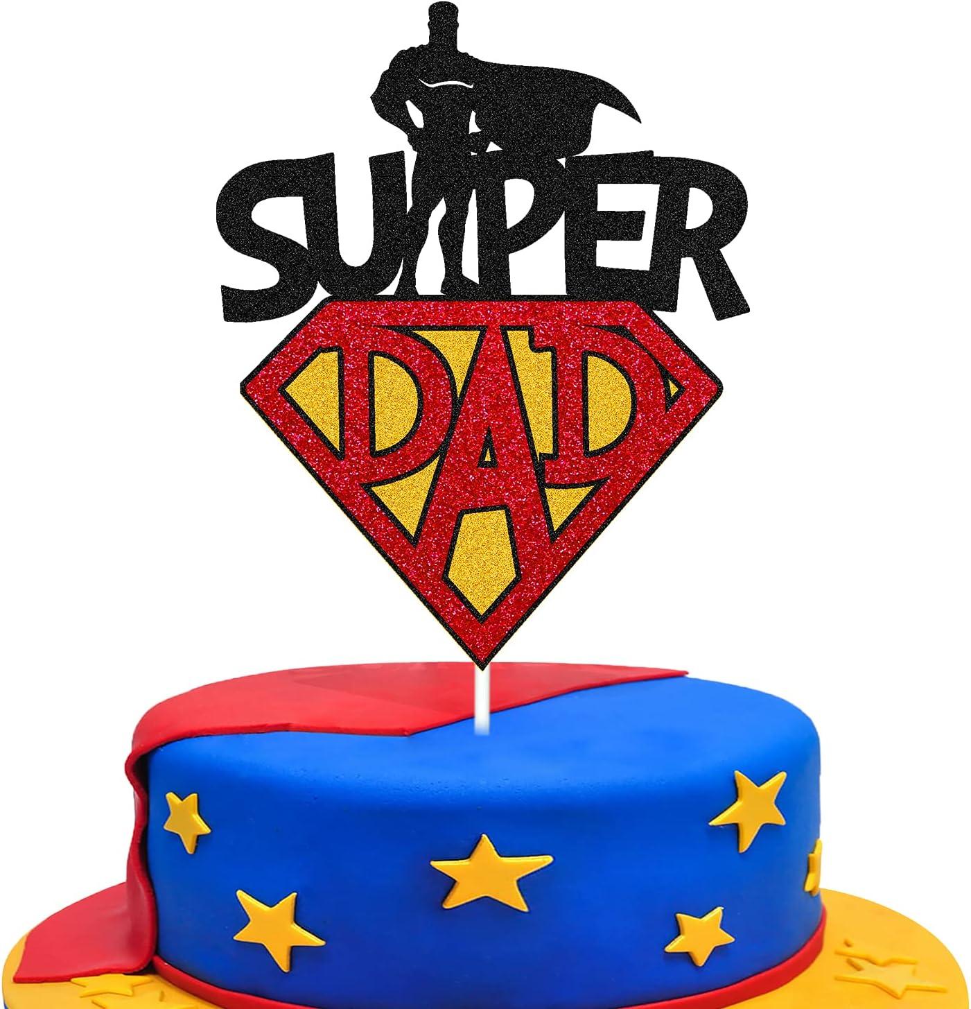 Wrilicyoki Genuine Super Dad Cake Birthday Today's only Father Topper Decoration
