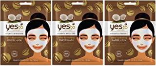 Yes to Coconuts Ultra Hydrating Paper Mask with Aloe Vera and Guava Fruit Extract (Pack of 3), 0.67 Oz Each