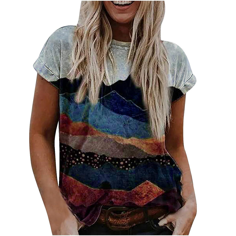 Women's Summer Casual Loose Short Sleeve T-Shirt Landscape Printing V Neck Plus Size Lightweight Tops