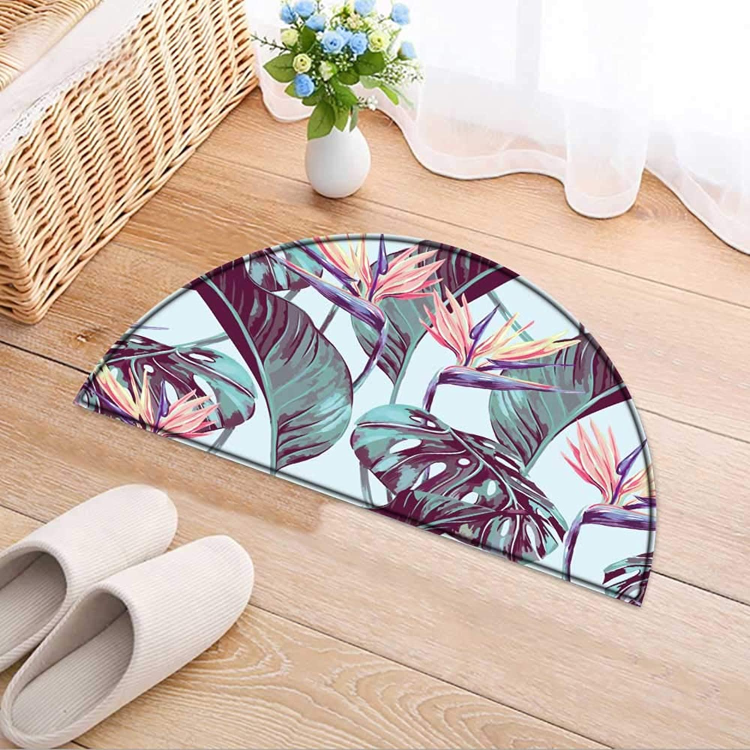 Semicircle Rug Kid Carpet Tropical Flowers Jungle Leaves Bird of Paradise Flower Vector Home Decor Foor Carpe W47 x H32 INCH