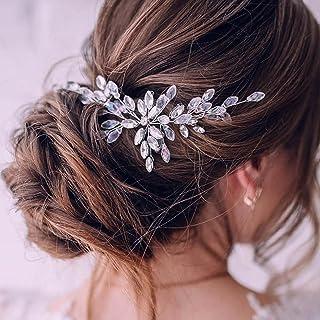 Ushiny - Cerchietto per capelli da sposa con strass e perle, accessorio per capelli per spose e damigelle d'onore (argento)