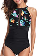 Holipick Women One Piece Swimsuit High Neck Mesh Ruched Floral Printed Swimsuit