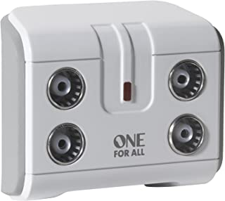 One For All Signal Booster/Splitter for TV - 4 Outputs (14x amplified) - Plug and Play - For interference free reception - Full HD compatible - white - SV9604