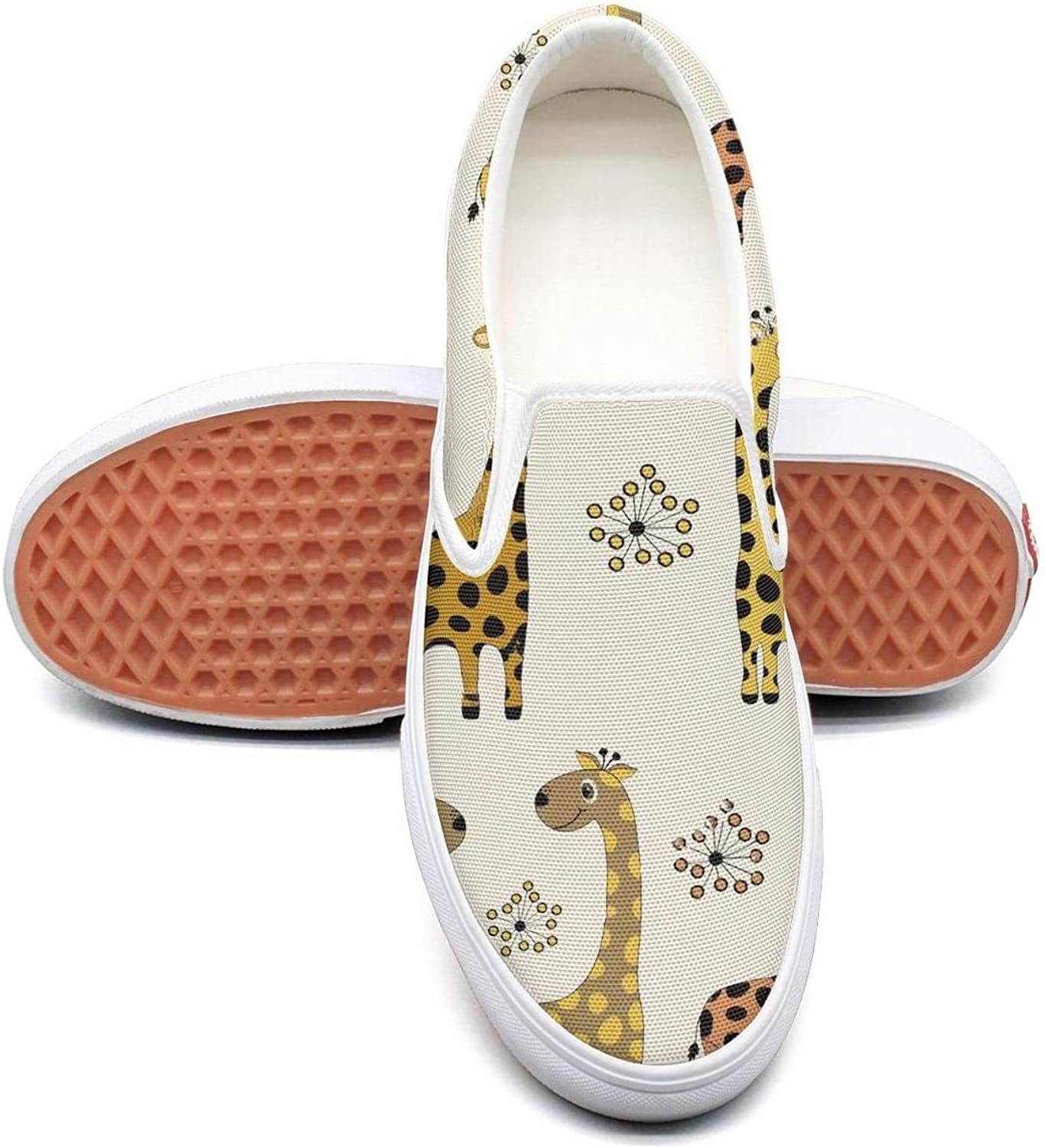 Refyds-es Pattern Cute Cartoon Giraffes Womens Fashion Slip on Low Top Lightweight Canvas Volleyball Sneakers
