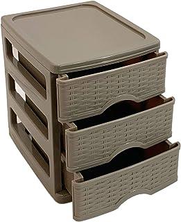 Plástic Forte Mini-Cajonera de 3 cajones-Gris marrón 17 x 13,5 x 16,5 cm