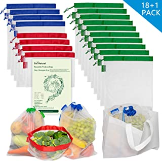 18 Pcs Heavy Duty Reusable Mesh Produce Bags, 3 Size Barcode Scanable Light Weight See Through Washable Eco Friendly Shopping Merchandise Bags with Drawstrings and Color Coded Tare Weight Tags