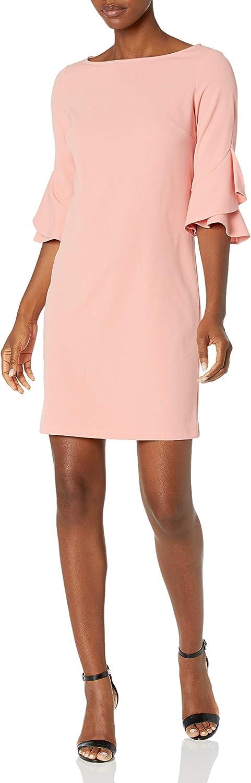 NINE WEST Women's High Low Ruffled Sleeve Dress