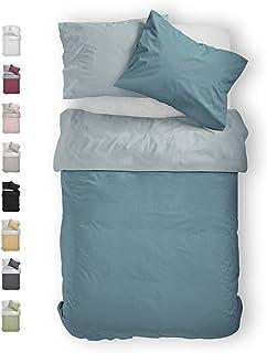 BLUE MOON Pościel dwustronna z mako-satyny, jakość premium, 155 x 220 + 80 x 80 cm, wszystkie rozmiary normalne, rozmiar s...