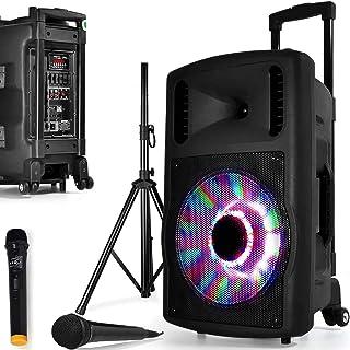 Enceinte SONO Mobile DJ PA 700W FUZZY12BT LED PIED Batterie Party Karaoké 2 MICROS 12 USB SD Bluetooth FAMILLE ENFANT SOIREE