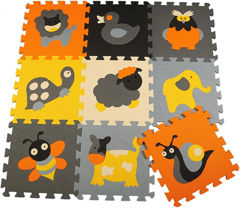 Yazi Interlocking Foam Rug Mats Puzzle Track Floor Puzzle Play Mat Set of 9,Each Tile is 12  x 12  x 0.43