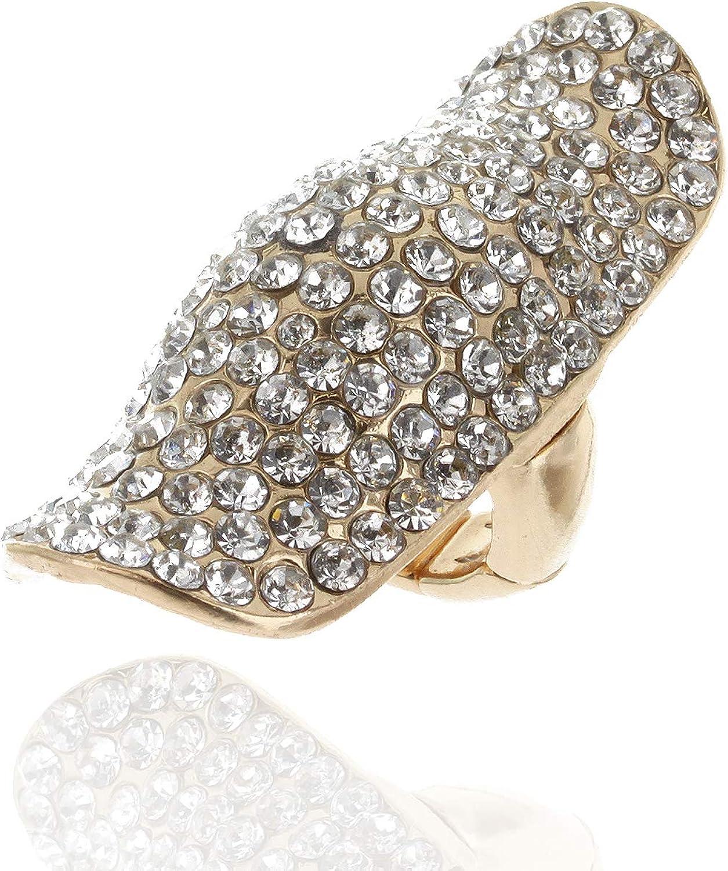 Half Finger Adjustable Long Ring Fully Studded in Austrian Crystal Rhinestones