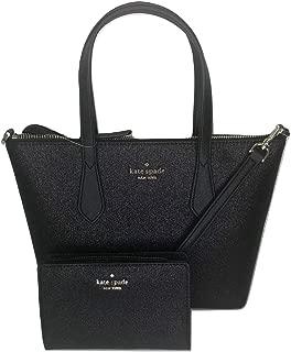 Kate Spade New York Joeley Small Satchel bundled with matching Medium Bifold Wallet (Black Glitter)