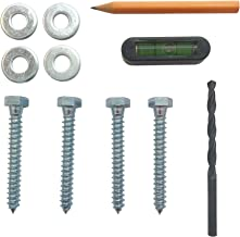 TV Mount Lag Bolts/Screws with washers, Drill bit, Level, Pencil