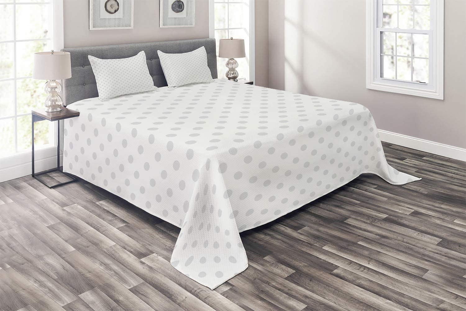 Ambesonne Grey Kansas City Mall Coverlet Small Polka White Backdrop Retr Max 55% OFF Dots on
