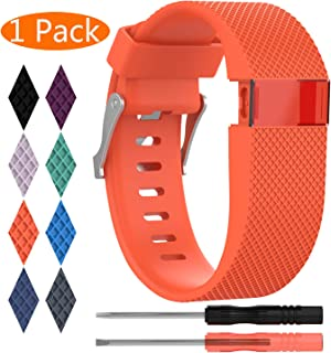 KingAcc Compatible Replacement Bands for Fitbit Charge HR, Soft Silicone Band with Metal Buckle Fitness Wristband Sport Strap Women Men (1-Pack, Orange/Tangerine, Small)