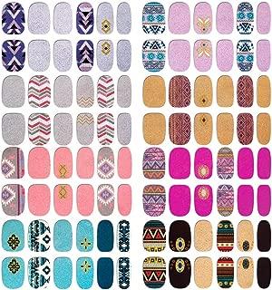 Comdoit Nail Polish Strips Nail Wraps for Women 8 Sheets Full Nail Stickers Color Glitter Nail Polish Stickers Adhesive Nail Decals Design Manicure Set DIY Fingernail Decorations Nail Art Supplies