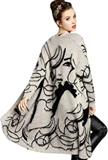 Womens Sweater Long Sleeves Beauty Face Open Front Cardigans
