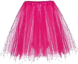 Womens Fashion Paillette Elastic 3 Layered Short Skirt Adult Tutu Dancing Mini Skirt