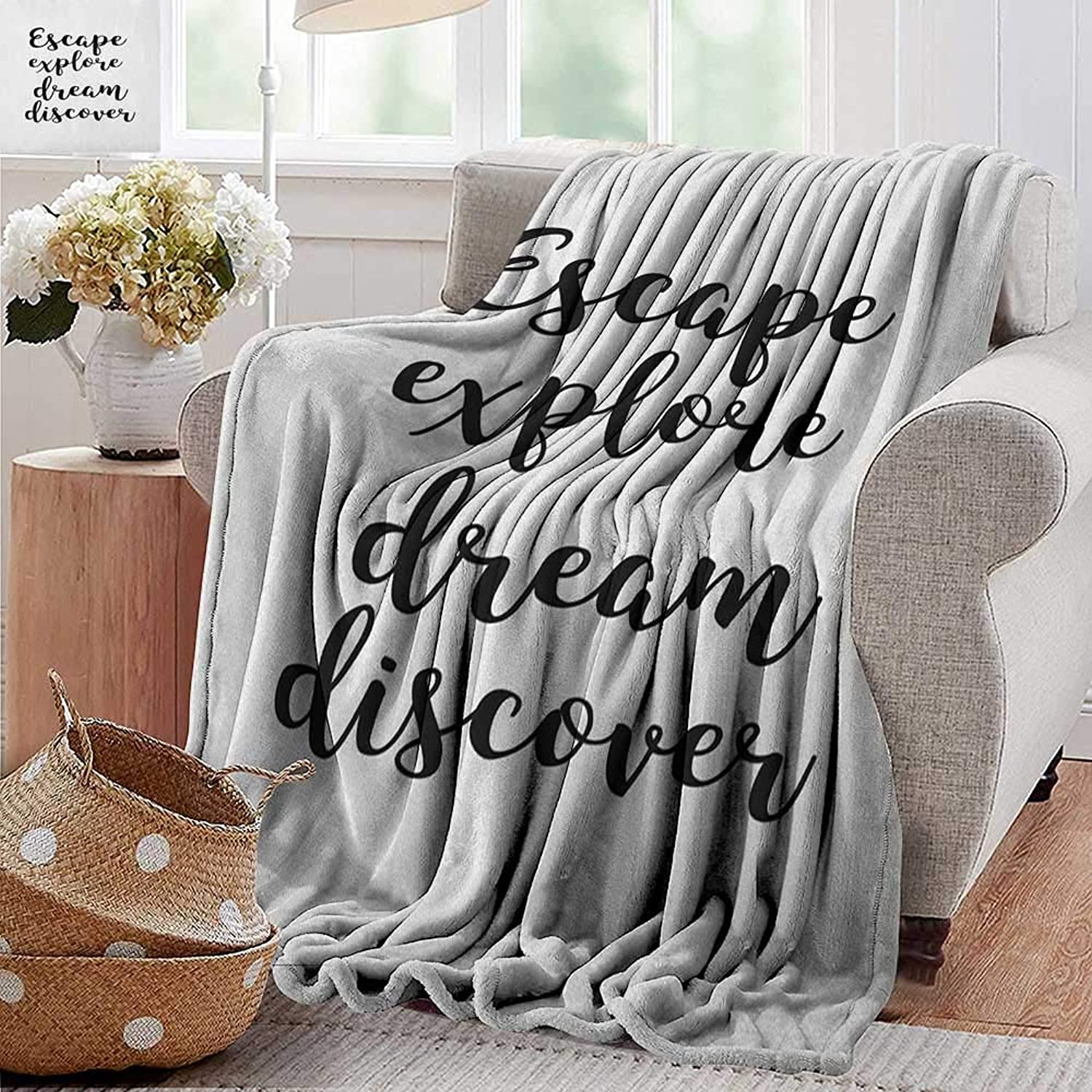 Weighted Blanket for Kids,Explore,Hand Drawn Brush Calligraphy Quote Escape Explore Dream Discover Lettering, Black and White,Weighted Blanket for Adults Kids, Better Deeper Sleep 50 x60
