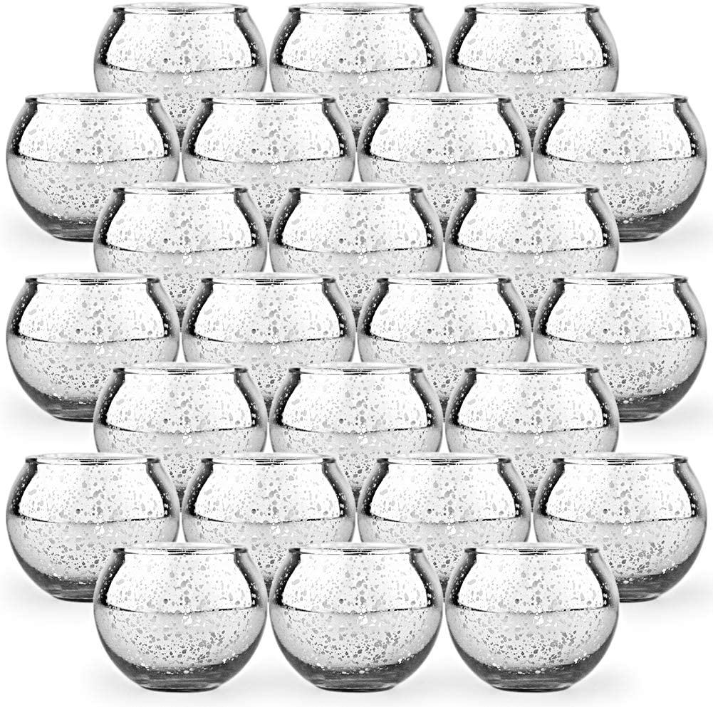 SHMILMH Round Silver Votive Candle Holders Tampa Mall Max 47% OFF Gl 24 Mercury Set of