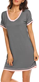 Ekouaer Women's Sleepwear Casual V Neck Nightshirt Short Sleeve Nightgown S-XXL