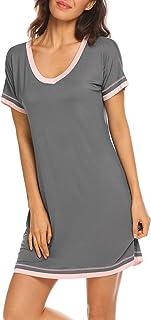 ثوب نوم نسائي من القطن برقبة على شكل حرف V من متجر Ekouaer ملابس نوم كاجوال بأكمام قصيرة S-XXL