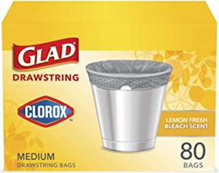 Glad Medium Drawstring Trash Bag with Clorox, 8 Gal, Lemon Fresh Bleach 80 Count (Package May Vary), Grey, (Pack of 12)