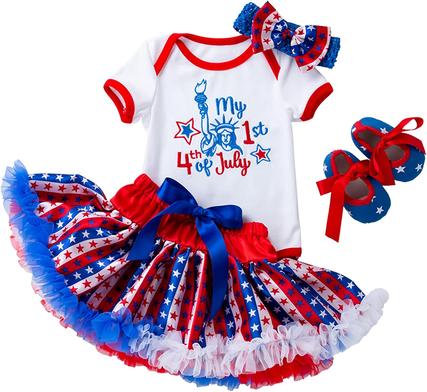 Flower Frail My First 4th of July Baby Girl Outfits American Flag Embroidery Romper+ Tutu Skirt+ Headband+ Shoes Set: Clothing