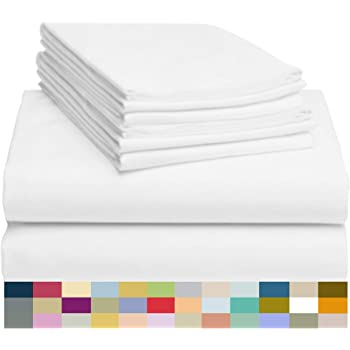 """LuxClub 6 PC Sheet Set Bamboo Sheets Deep Pockets 18"""" Eco Friendly Wrinkle Free Sheets Hypoallergenic Anti-Bacteria Machine Washable Hotel Bedding Silky Soft - White Queen"""