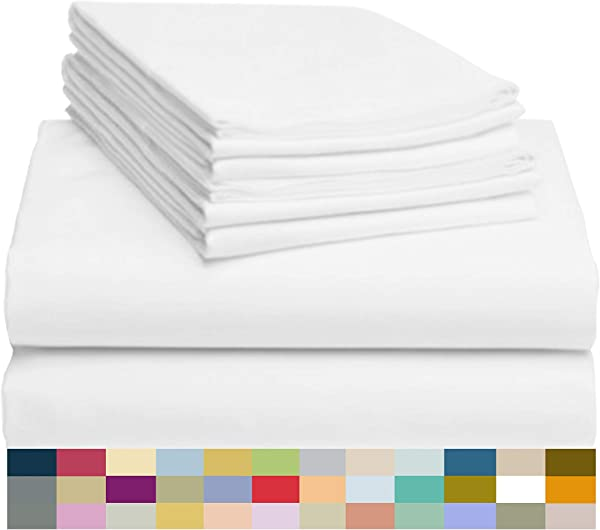 LuxClub 6 PC Sheet Set Bamboo Sheets Deep Pockets 18 Eco Friendly Wrinkle Free Sheets Hypoallergenic Anti Bacteria Machine Washable Hotel Bedding Silky Soft White King