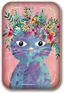 Studio Oh! Medium Metal Catchall Tray Available in 12 Different Designs, Mia Charro Fancy Flower Cat