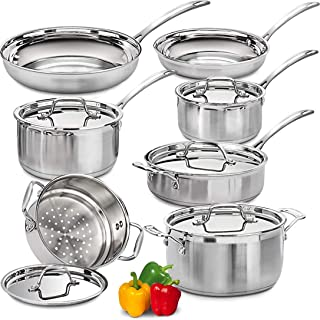 Lightning Deals Induction Cookware Set,Cooking Pot and Pan Set,Tri-Ply Stainless Steel Pots, Rustproof & Oven & Dishwasher Safe, PFOA Free, FDA,Thanksgiving,Christmas,Black Friday (Silver)