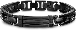 Steve Madden Black IP Plated Stainless Steel Polished Link Bracelet for Men