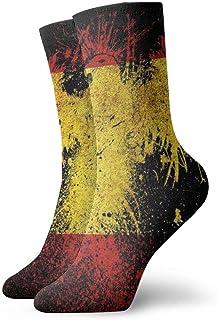 yting, Bandera de España y águila Calcetines de compresión de tripulación clásica Tejido plano Casual Calentamiento atlético 30 cm Suave