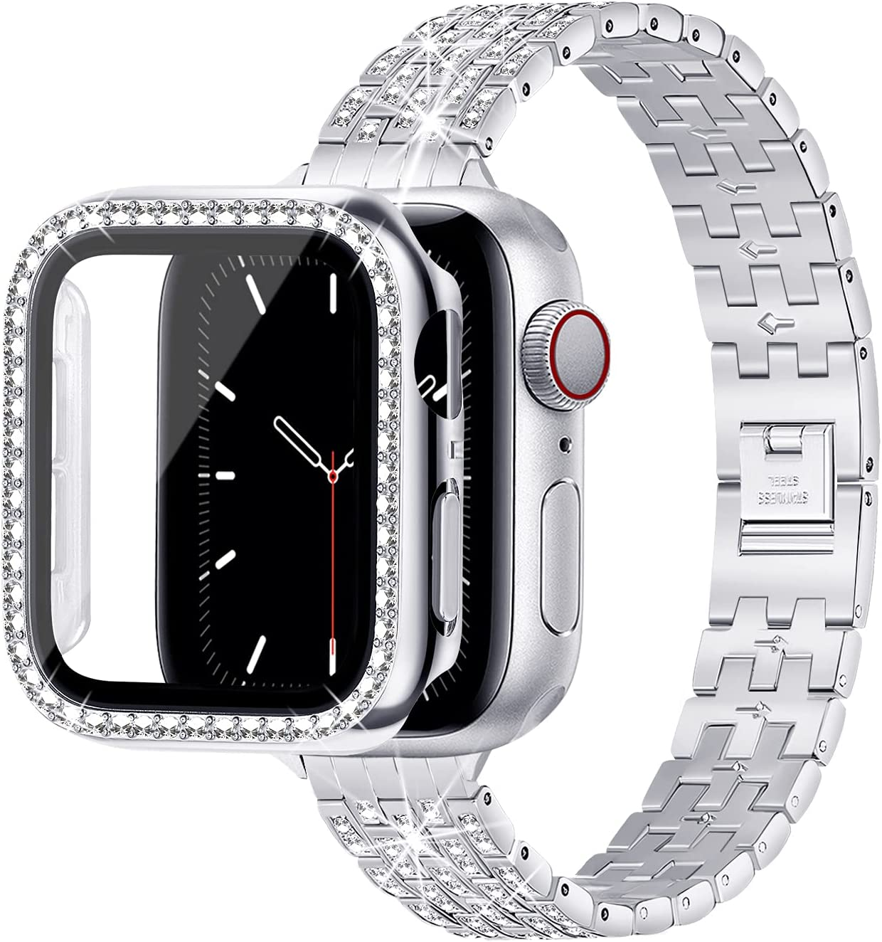 Lovrug Band with Case Compatible with Apple Watch 40mm 38mm 42mm 44mm iWatch SE/Series 6/5/4/3/2/1,Jewelry Bling Diamond Rhinestone Replacement Metal Strap & Screen Protector for Women(Silver 38mm)