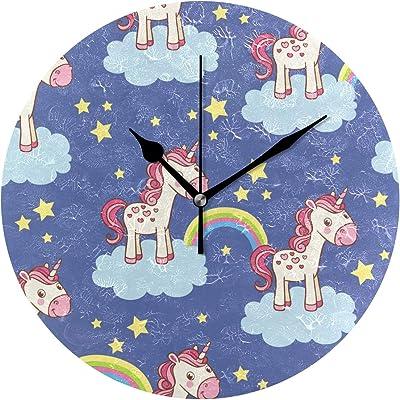 EZIOLY - Reloj de pared con diseño de unicornio de dibujos ...
