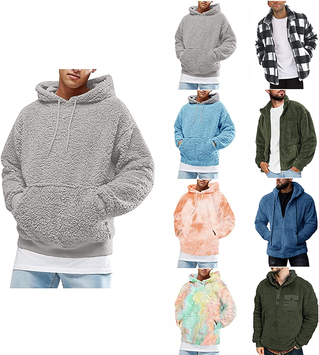 Qsctys Hoodies for Men Fuzzy Sherpa Pullover Hoodie Sweatshirts Crewneck Long Sleeve Sport Fall Outwear Winter Hooded Shirts