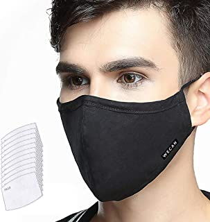 Dust Mask 5 Layer Activated Carbon Filter Washable Replaceable Filter For Man And Women (One Mask + 10 filters) Men Black