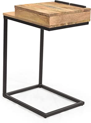 Christopher Knight Home Dorothy Mango Wood C-Shaped End Table, Natural, Black