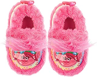 DREAMWORKS TROLLS Poppy Girls' Faux Fur Warm Comfy Fuzzy Slipper, Pink