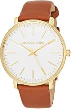 Michael Kors Women's Stainless Steel Quartz Watch with Leather Calfskin Strap