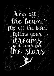 Artylicious Gymnastics Poster, Jump Off The Beam, Dance Quote Inspirational Black A2 Poster Art Print