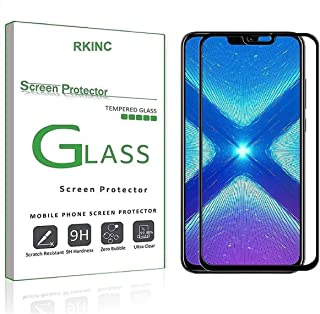 GVTECH Screen Protector for Huawei Honor 8X, Full Coverage Tempered Glass Screen Protector [2.5D Round Edge][9H Hardness][Crystal Clear][Scratch Resist] for Huawei Honor 8X(Black)