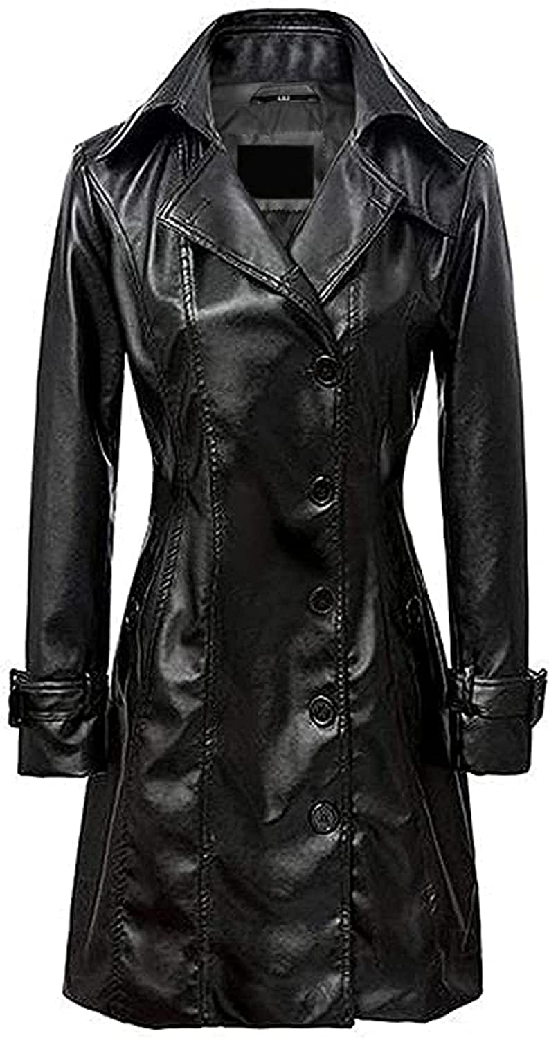 T&I TEXAS Women Black Long Trench Coat   Women's Faux Leather Trench Jacket Over Coat